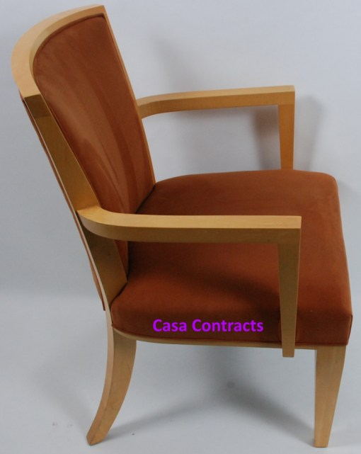 HBF Side Canteen Chair in Tan Fabric Wooden Frame 7a