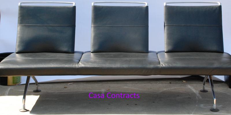 Vitra Area sofa 3 seater black leather 1