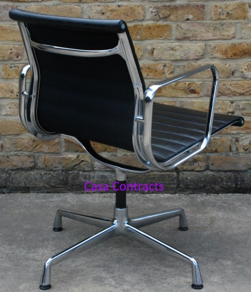 Vitra Eames EA108 Black Ribbed Leather Aluminium Group Chair 3