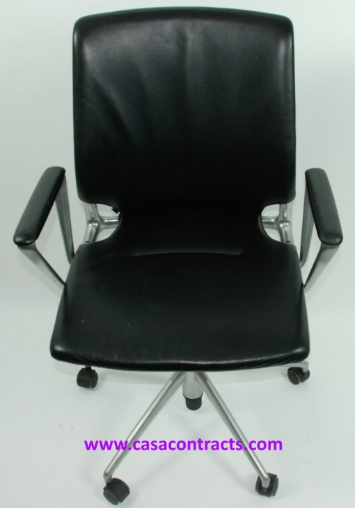 Vitra Meda chair leather fixed arms 2a