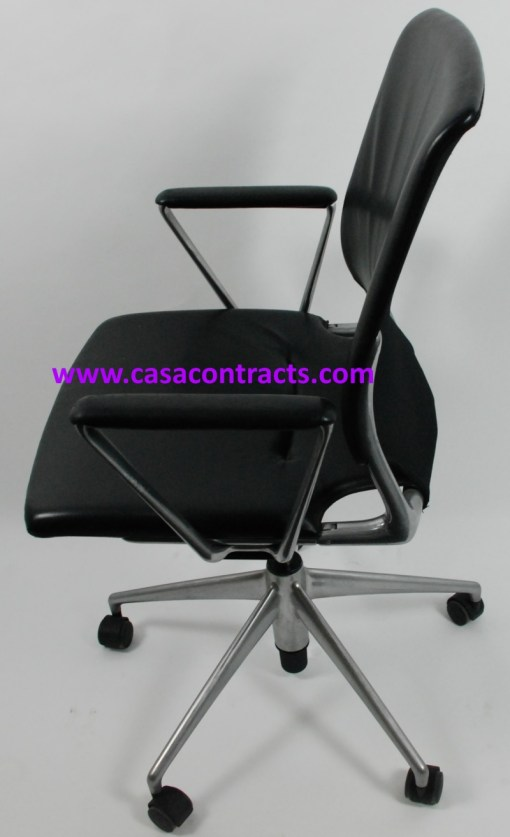 Vitra Meda chair leather fixed arms 3b
