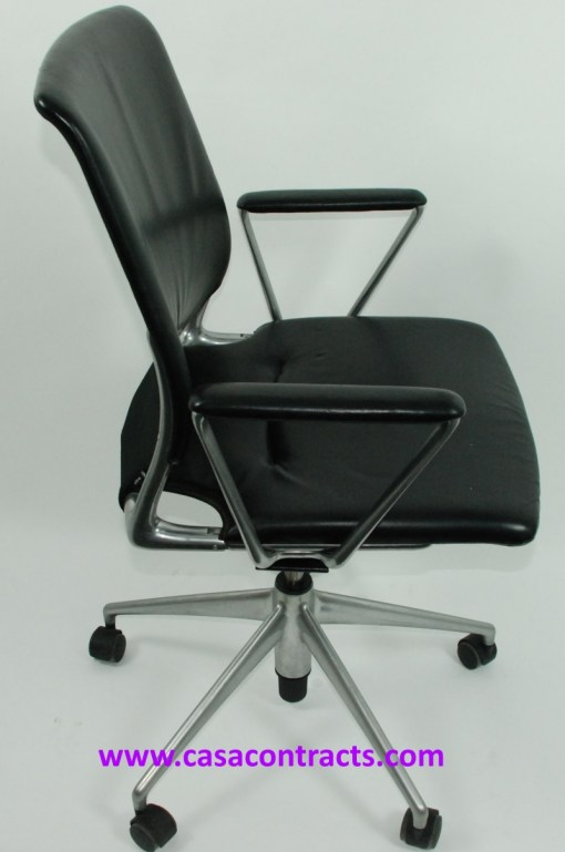 Vitra Meda chair leather fixed arms 5a