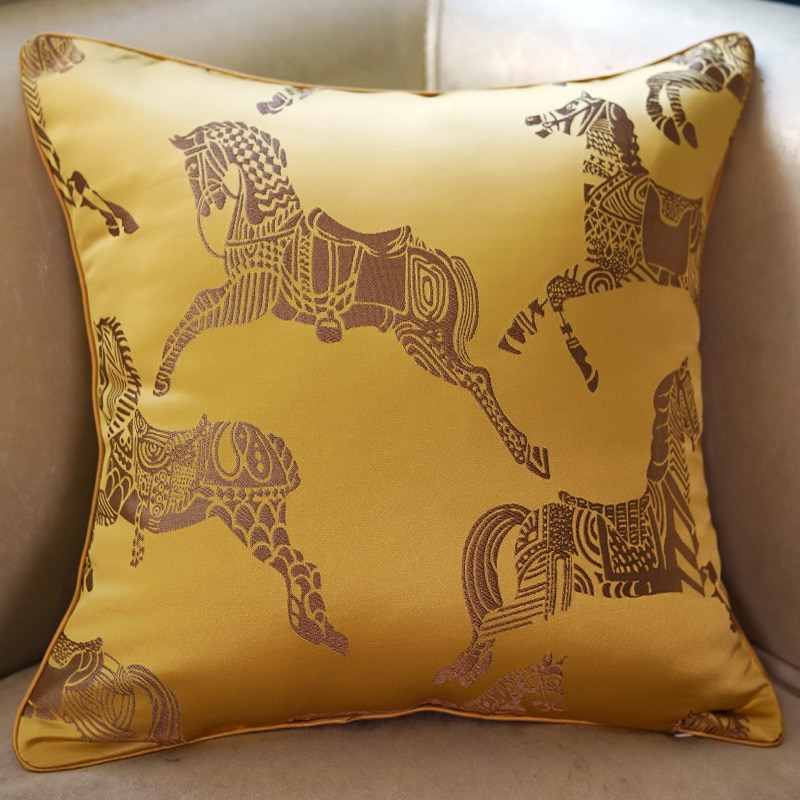 indie horse printed jacquard pillow case