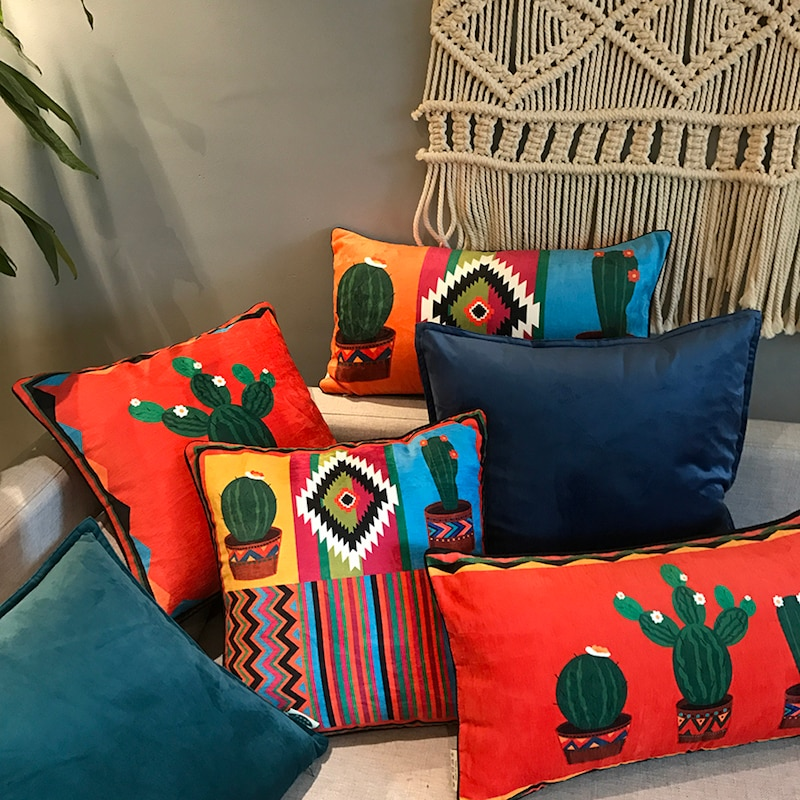 colorful mexican style chenille pillow covers