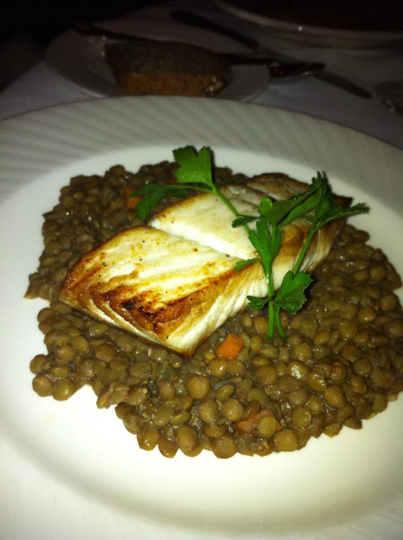 Halibut over ragu of lentils