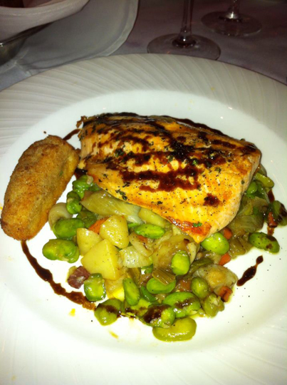 fish over fava beans