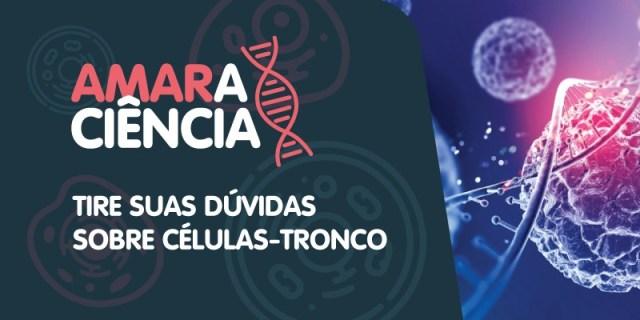 Arte com o logo do Amaraciência e a imagem de uma sequencia de DNA e uma célula