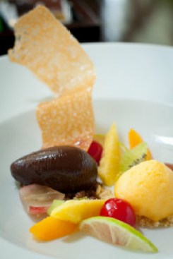 Cream of Chocolate with Passion Fruit Sorbet