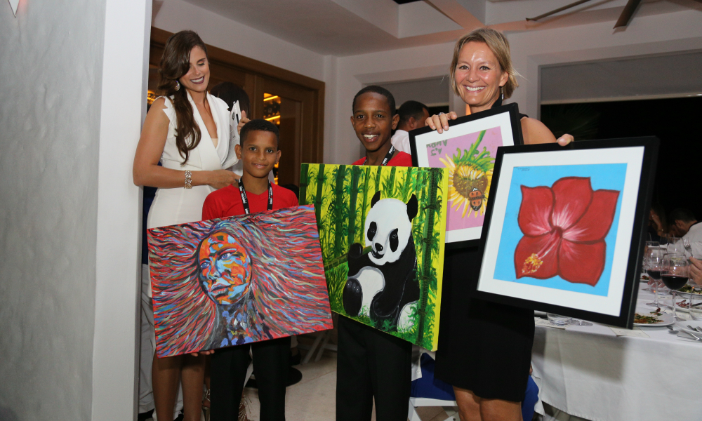 Kids Paintings Marc Anthony and Maestro Cares dinner at SBG
