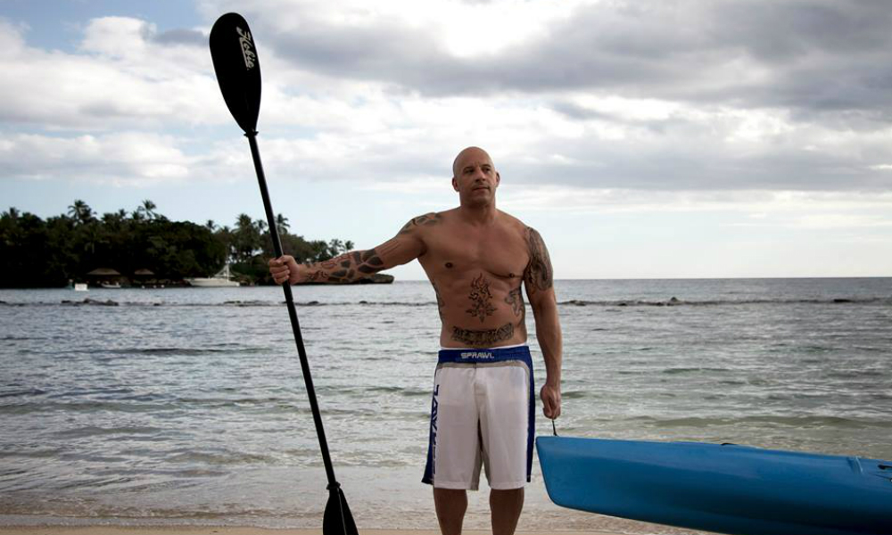 Vin Diesel at Minitas Beach Ready to kayak