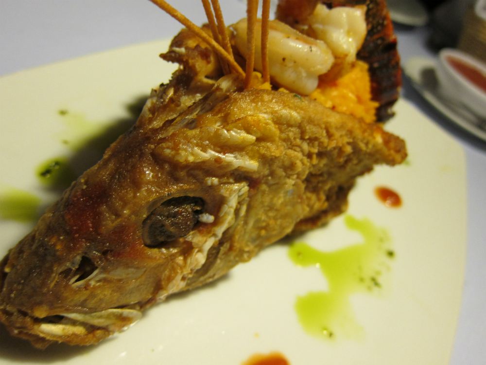 Deep fried catch of the day filled with rice Casita