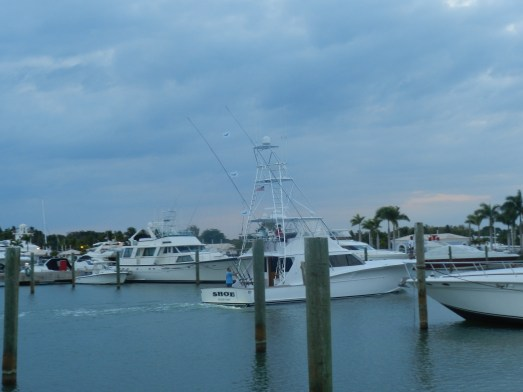 "Fishing vessel ""Shoe"" arriving at Marina CDC after a day of fishing."