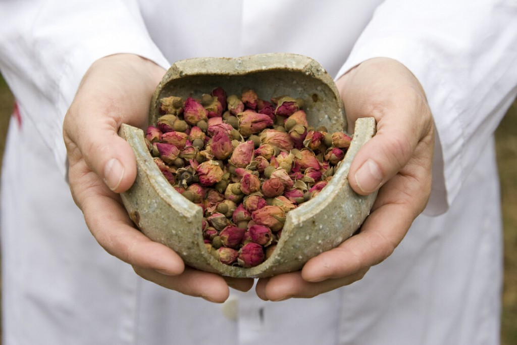 herb bowl Chinese medicine rose buds