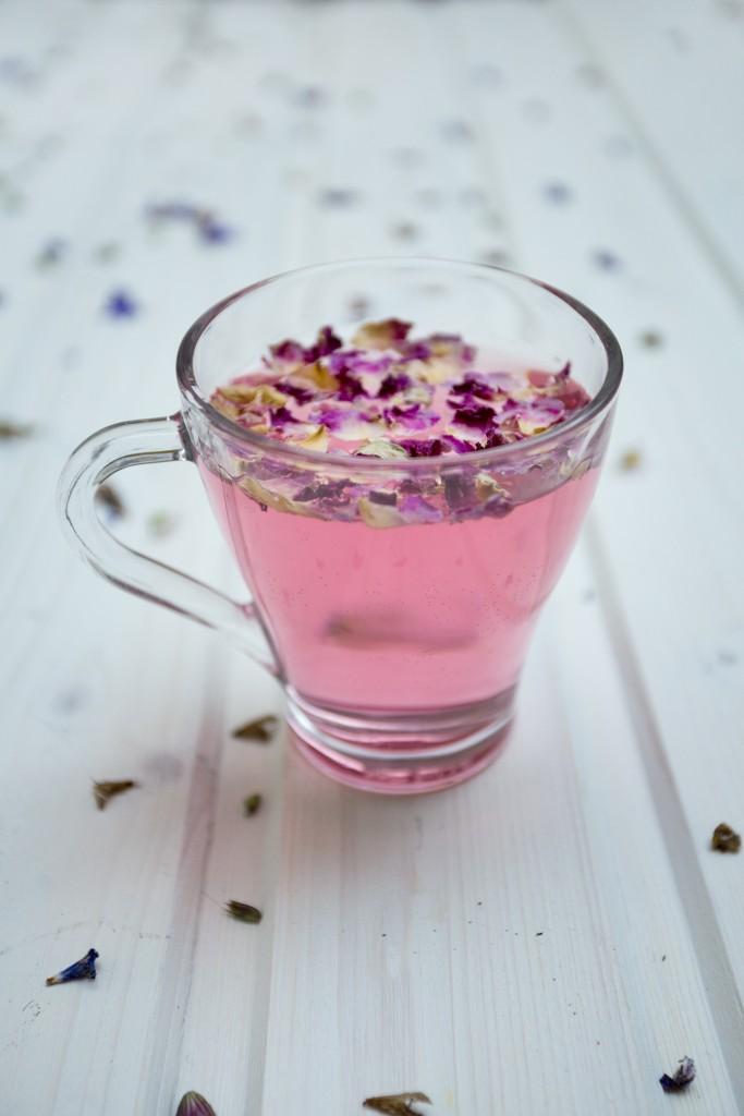 floral pink herbal tea