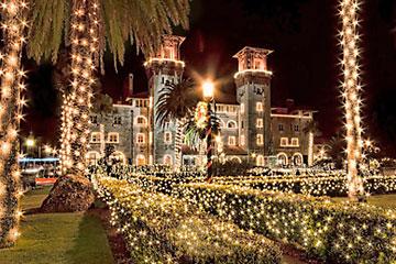 Lightner Museum with holiday lights