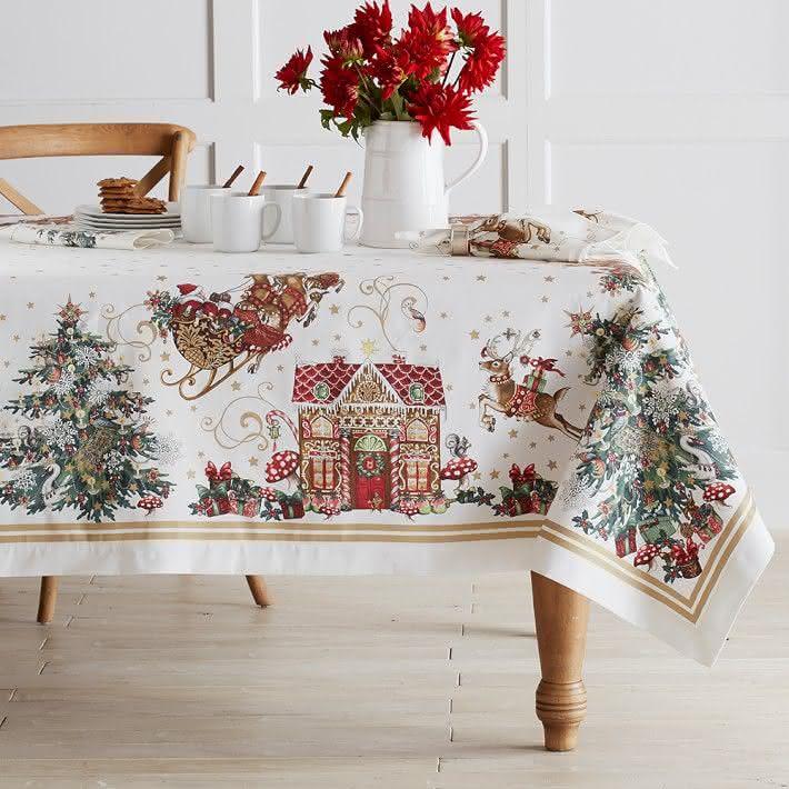 Toalha de mesa com motivos natalinos