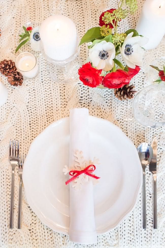 Crochê na mesa de natal