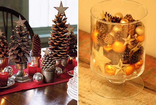 Duas sugestões de decoração com pinhas