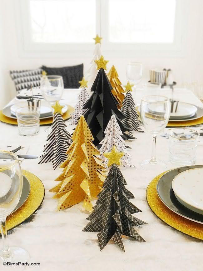 Paleta moderna para decorar o natal: amarelo, preto e branco