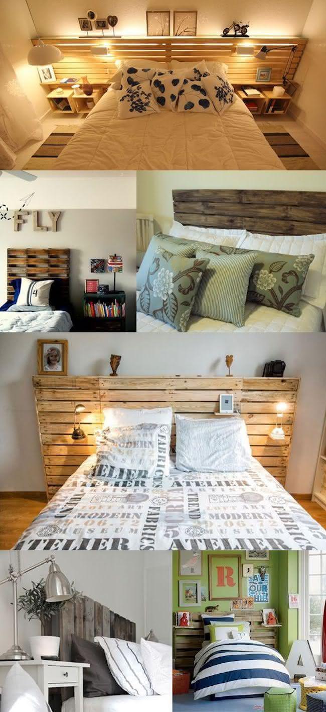Diferentes modelos de camas feitas com pallets.
