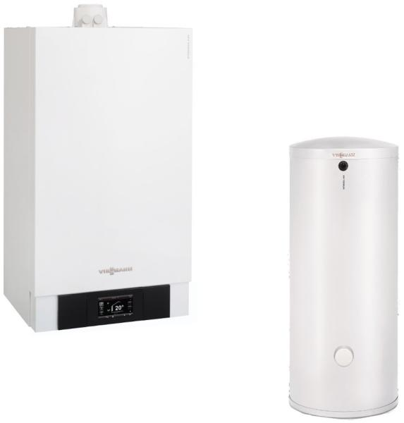 Pachet centrala termica Viessmann Vitodens 200-W 49 kW cu boiler monovalent Vitocell 100-W 300 litri B2HAL54
