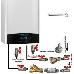 Pachet de baza: centrala termica in condensare Ariston Genus One 35 EU 35 kW + pachet instalare centrala termica murala cu robineti si filtre