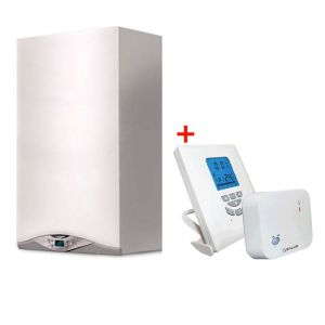 Pachet economic Centrala termica in condensare Ariston Cares Premium 24 EU+ kit evacuare si termostat Salus T105RF incluse