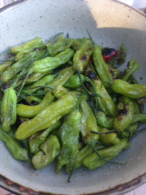 A bowl of blistered shishito peppers tossed with sesame oil and soy sauce.