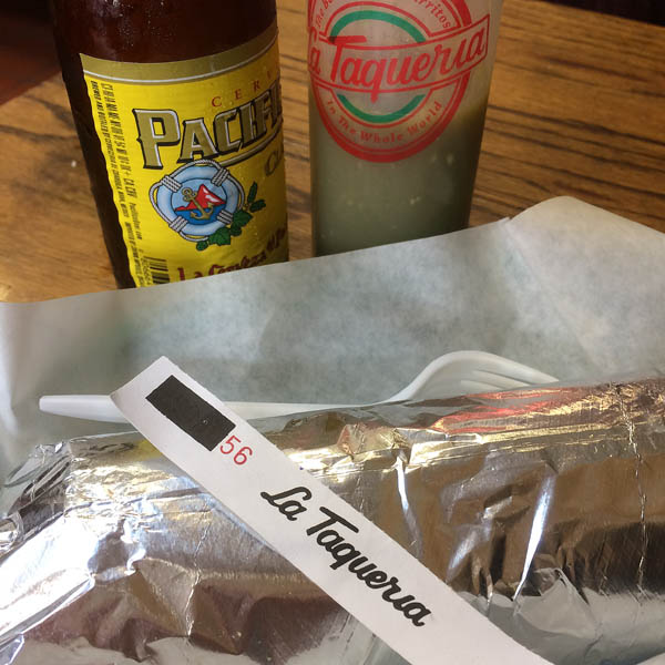 The burritos at La Taqueria don't have rice, but they're packed with flavor and ambiance.