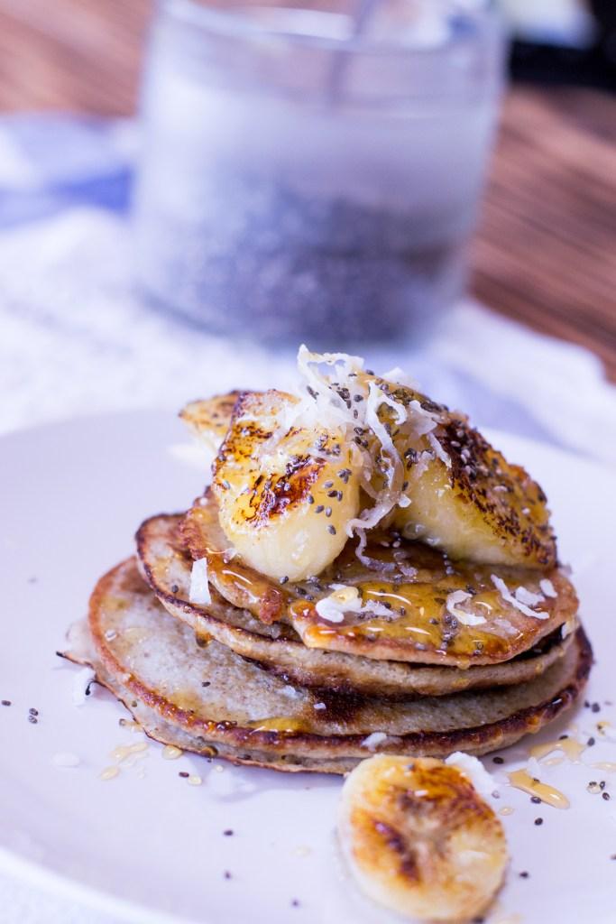 Coconut Chia Banana Pancakes