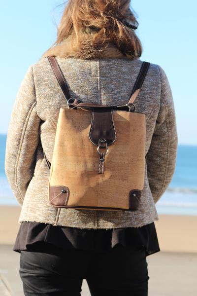 Sac à dos mini liège marron Femme plage mer