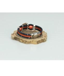 Bracelet trio liège avec pastille et perles en céramique