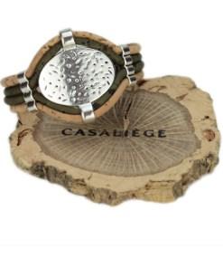 Bracelet en liège ajustable avec plaque martelée