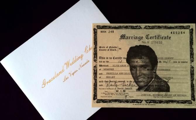 Cópia da certidão de casamento do Elvis com a Priscilla, em 1987