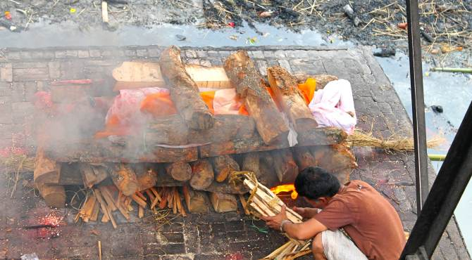 Body preparing for cremation