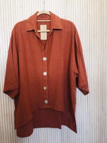 Tumeric Linen Big Button Shirt £120 Tumeric