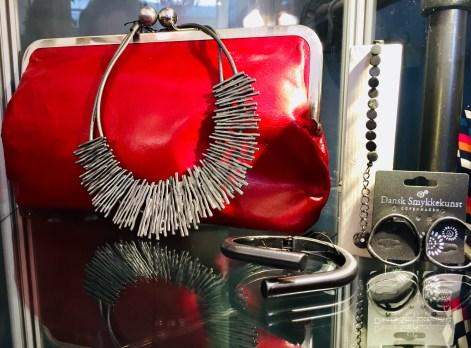Necklace £44.90 Bracelet £35 Earrings £29 Red Clutch £159