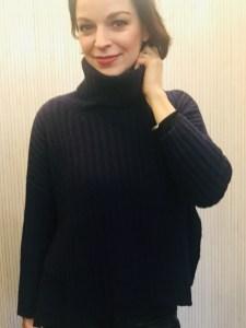 Ochre funnel neck sweater Navy & Charcoal £155