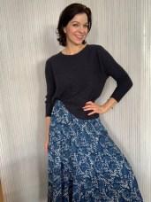 Long cotton print skirt. Cotton top from Ochre