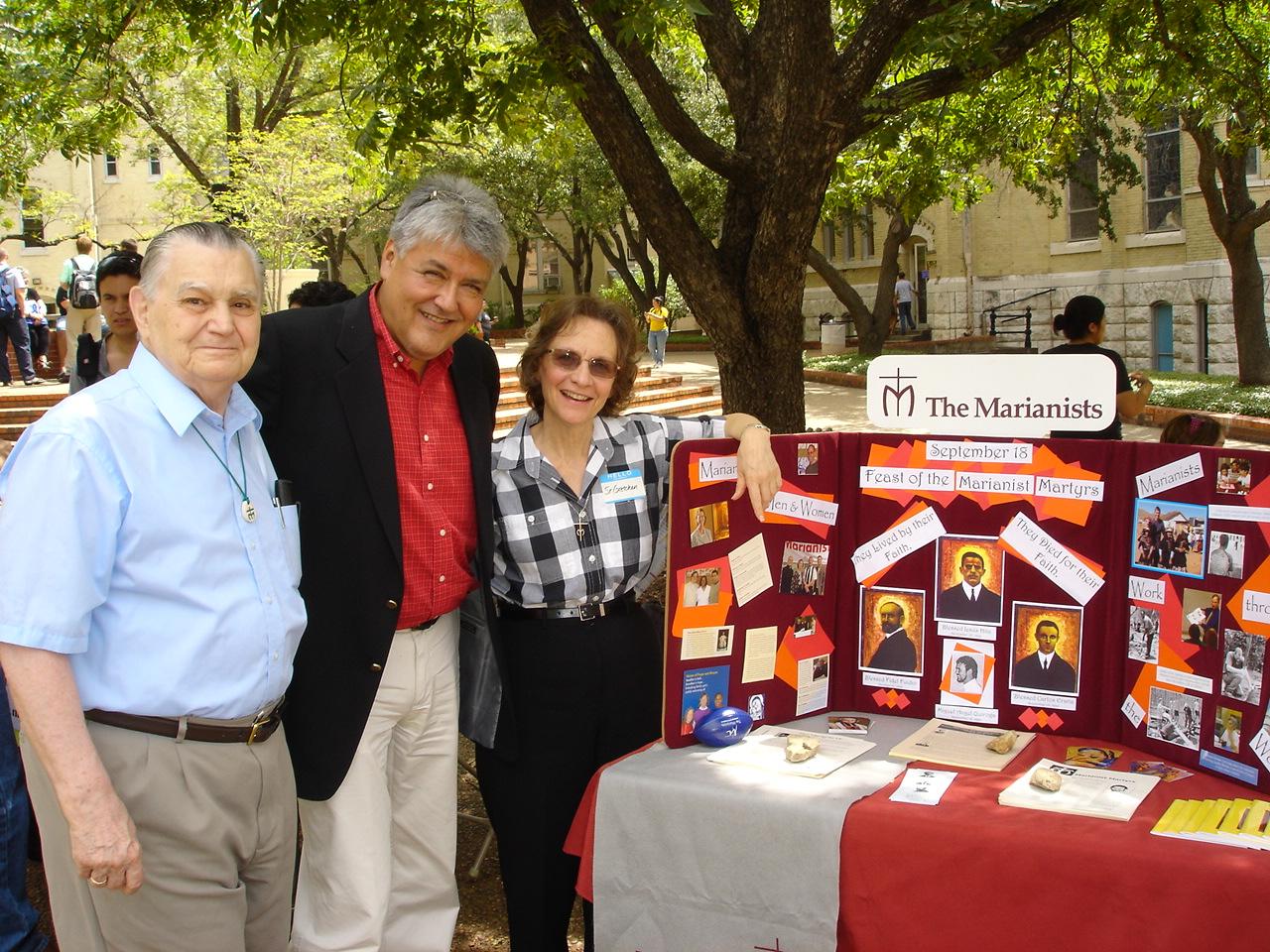 Bro. Leo Willett, Fr. Rudy Vela and Sr. Gretchen Trautman at the Interfaith Fair on the Quad