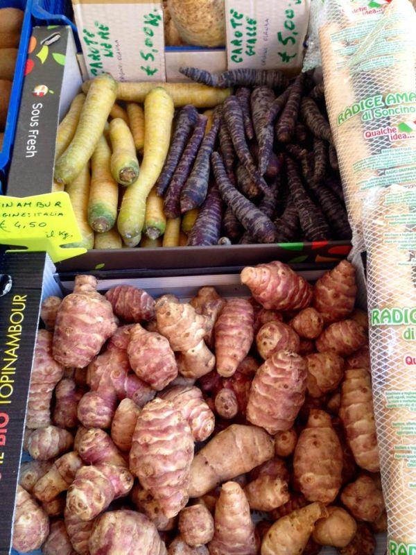 jerusalem artichoke, purple carrots and parsnips are in season