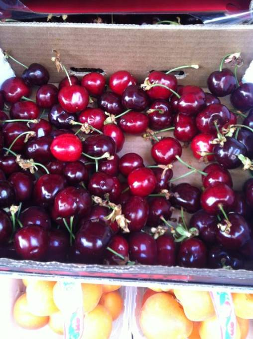 cherries in Italian farmer's market
