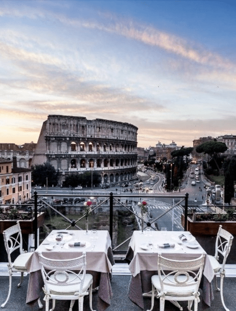 Aroma at Palazzo Manfredi romantic restaurant in Rome