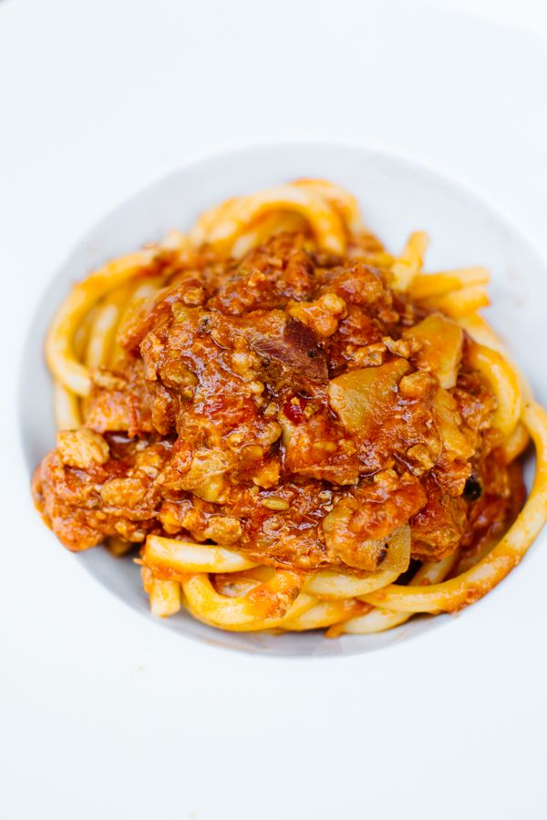 Pasta with meat sauce at Agorà