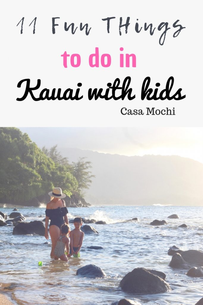 Playing at the beach, Kauai with kids