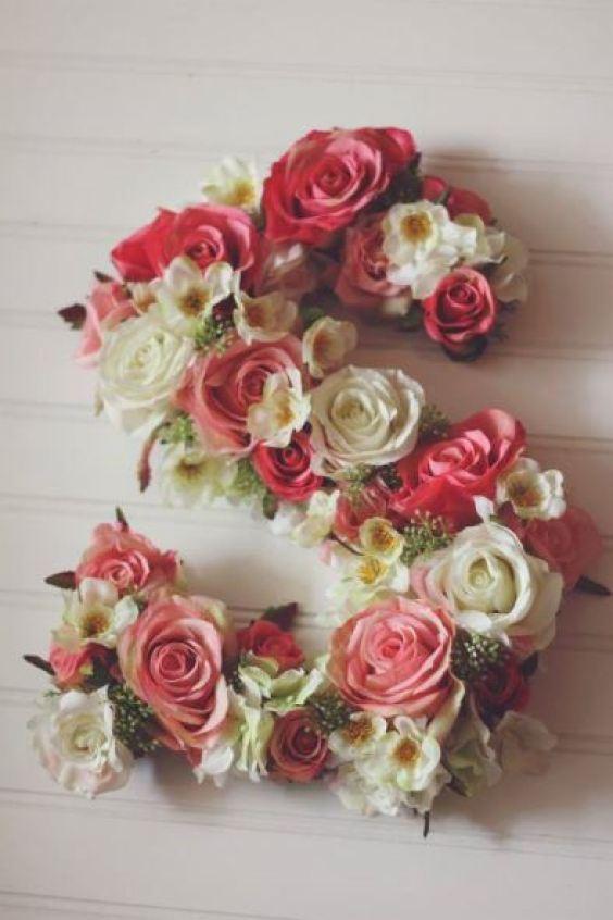 decoração casamento letras decorativas flores