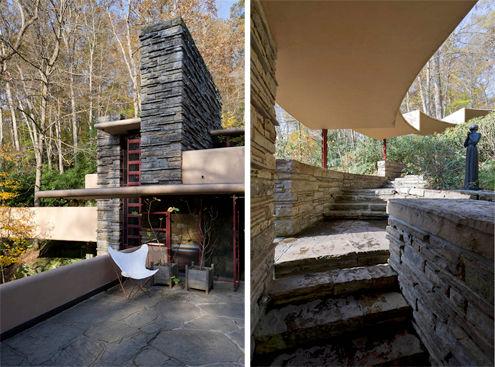 acceso a casa de huéspedes y terraza de casa de la cascada