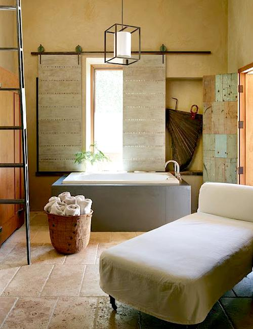 decoración rústica para el baño