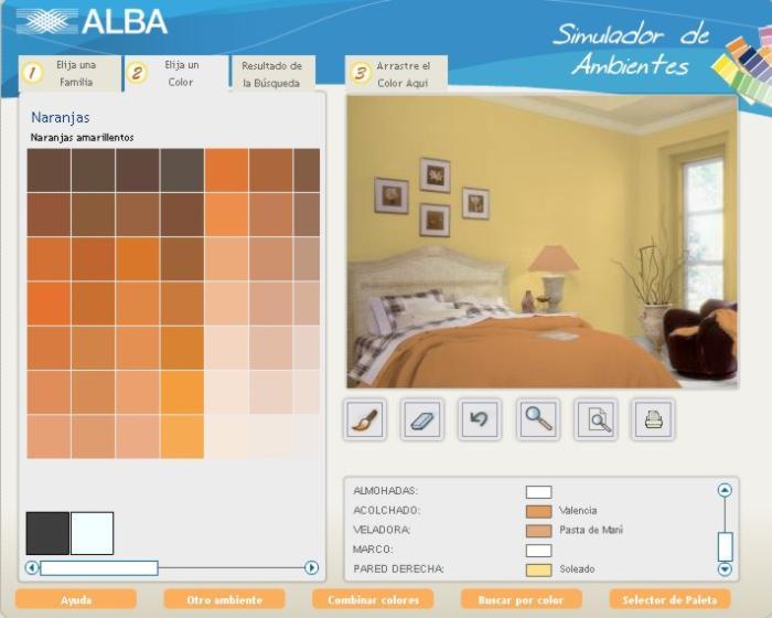 Completa paleta de colores para simular los ambientes