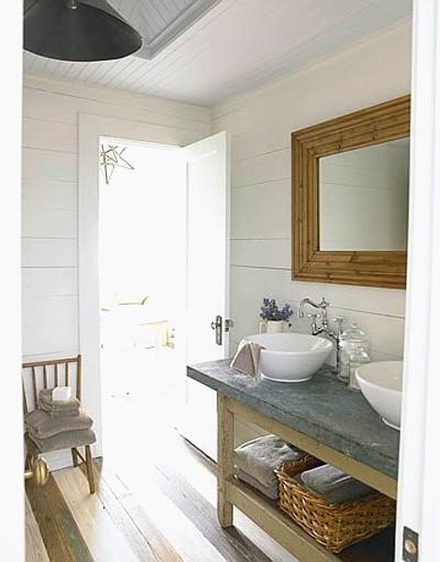 estilo rústico en el baño